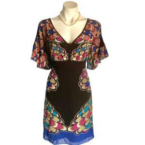 NWT Nicole Miller Somalian BLK Trim Tie Belt Dress